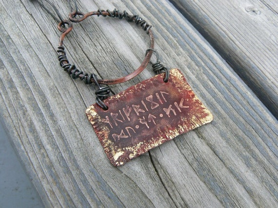 Runic inscription amulet necklace