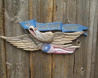 "Bellamy Eagle with ""E Pluribus Unum' banner...aged Gold finished eagle"