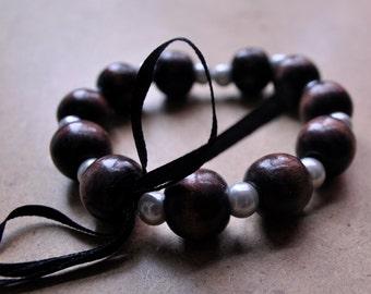 Wood Pearls & Black Bow Bracelet