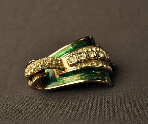 Art Deco Revival Vintage Green & Gold Brooch