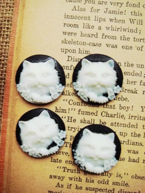 8PCS Vintage Style Cat Cabochon Black White
