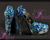 SEA Mirror Glass Custom High Heel Design with Rhinestones