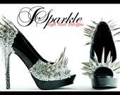 MATRIX COLLECTION Custom High Heel Peep Toe Pump with Crystal Flatback Rhinestones & Silver Chains