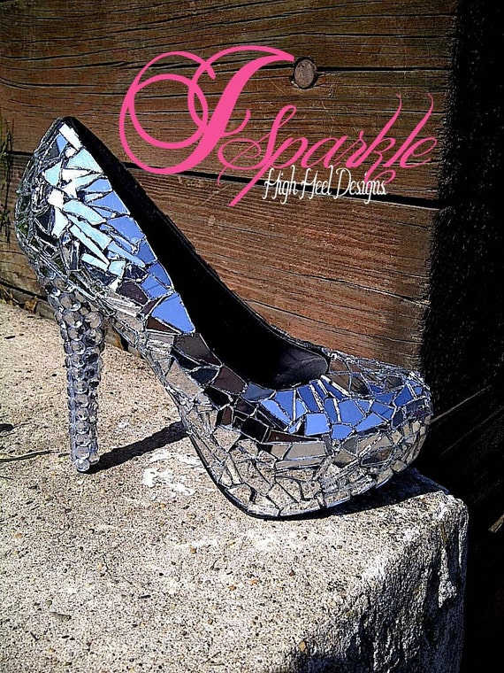 Zaira Mirror Glass Rhinestone Custom High Heel Pump