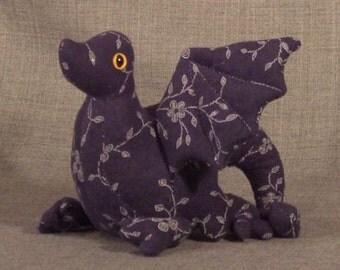 Dragon Hatchling Dark Grey Floral Sparkle Print Beanbag