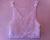 Bow-tie White Lace Crochet Crop Top Tank - Size Small/Medium