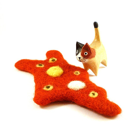Orange Amoeba Wool Catnip Cat Toy