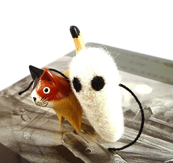Spooky White Ghost Catnip Cat Toy - Needle Felted Wool