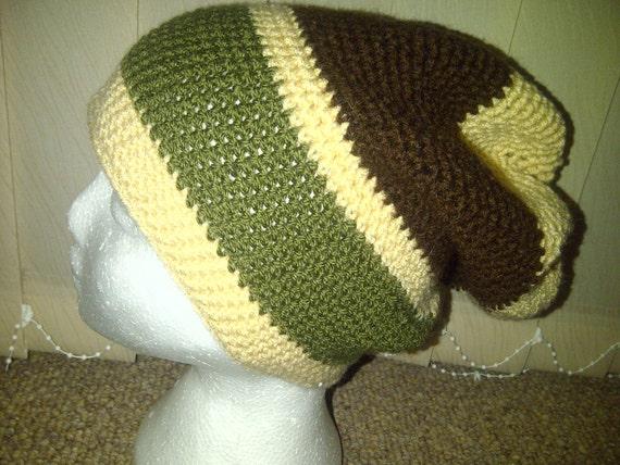 Tam Crochet Full  Slouch beanie Tam Hat in Brown, Beige & Green  - Handmade in Wales UK