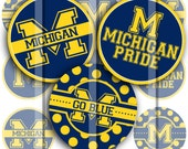 "University of Michigan school pride set - 4"" x 6"" 300dpi jpg Digital Bottle Cap for jewelry and hair bows"