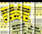 "Military Army Love - My Soldier My Hero set - 4"" x 6"" 300dpi jpg Digital Scrabble Tile Image Collage Sheet"