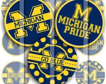 "University of Michigan school pride set - 4"" x 6"" 300dpi jpg Digital Bottle Cap for jewelry and hair bows"