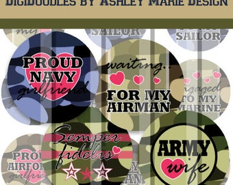"""Military Love - Marine Navy Army Airforce - 4"""" x 6"""" 300dpi jpg Digital Bottle Cap Image Collage Sheet for jewelry and hair bows"""