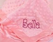 Personalized With Embroidery Pink Minky Dot & Satin Baby Blanket