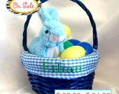 ON SALE - Personalized Size Medium Blue Wicker Easter Basket With Gingham Liner