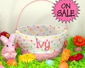 ON SALE - Personalized Pink Wooden Easter Basket With Polka Dot Liner