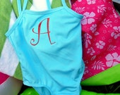 Baby Girl Custom Monogrammed Swimsuit in Tropical Blue