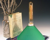 50% OFF SALE ...Green glass table or desk lamp with TWO industrial warm glow bulbs. Vintage. Retro. Repurposed. 72