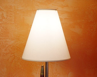 Translucent linen fabric hardback cone shade for High Desert Dreams lamps. WHITE.