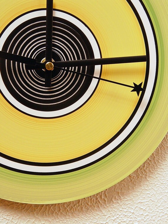 50% OFF! Clock. Cactus green, bamboo yellow and black white accents.  Modern. Simple. Functional wall art. FAST SHIPPING. 22