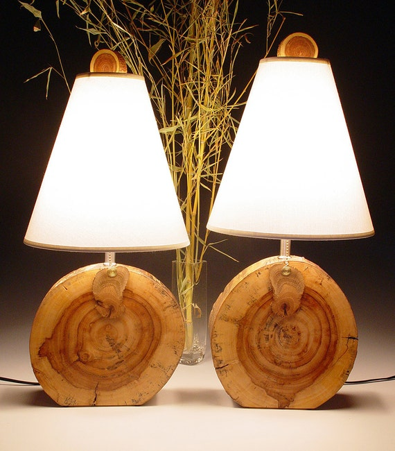 Table lamps. Desk lamps. Matching PAIR. Desert Driftwood. Naturally weathered walnut.  52,53