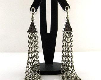 Fashionable  Dangle Earrings. Long.  Silver . Shiny,   multiple  chain, metal by Fashion  Brand Faina.