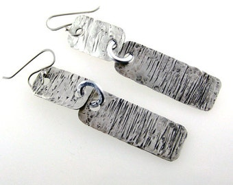 Sterling silver dangle earrings. Long, hammered,  textured,  oxidized, Stylish gift for her.