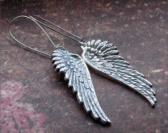 ANGEL WING EARRINGS Silver Dangle Wing Pendant Gorgeous Detail Always -Watch Over Me- by RevelleRoseJewelry