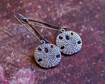 Sand Dollar SANDDOLLAR Earrings in Silver -DETAILED PENDANT- Gorgeous Beach Theme Jewelry, Wedding 'Simplicity' by RevelleRoseJewelry