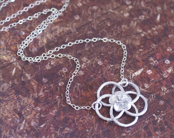 Silver FLOWER Necklace -STERLING SILVER- Chain Detailed Flower Pendant Everyday Wear 'Bloom' by RevelleRoseJewelry
