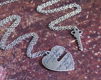 Heart Key Necklace-HE WHO HOLDS the Key- Silver Heart, Key Pendant Jewelry, Perfect His Hers Jewelry Two Necklace Set Girlfriend, Boyfriend