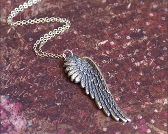 """Angel Wing Necklace -18"""" STERLING SILVER- Chain Gorgeous Detailed Large Wing Silver Pendant 'FAITH' by RevelleRoseJewelry"""
