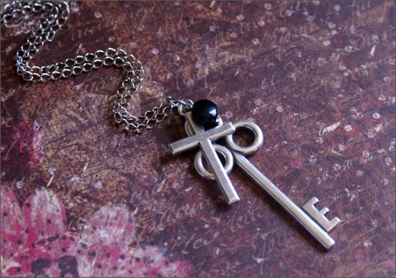 CROSS KEY Necklace Large Skeleton Key Pendant with Cross Pendant Accented with -Onyx Bead- FAITH by RevelleRoseJewelry