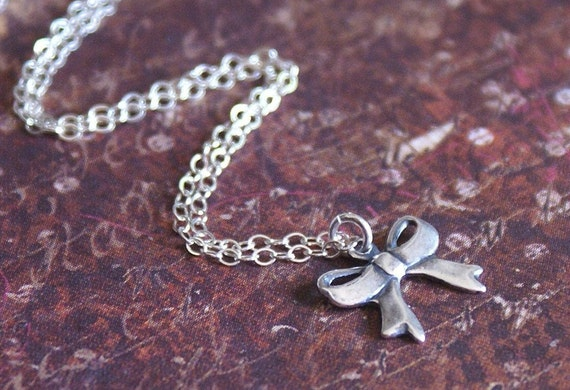 Bow Knot Necklace STERLING SILVER Chain Petite Knot Charm Celebrity Style -Wrapped Up- by RevelleRoseJewelry