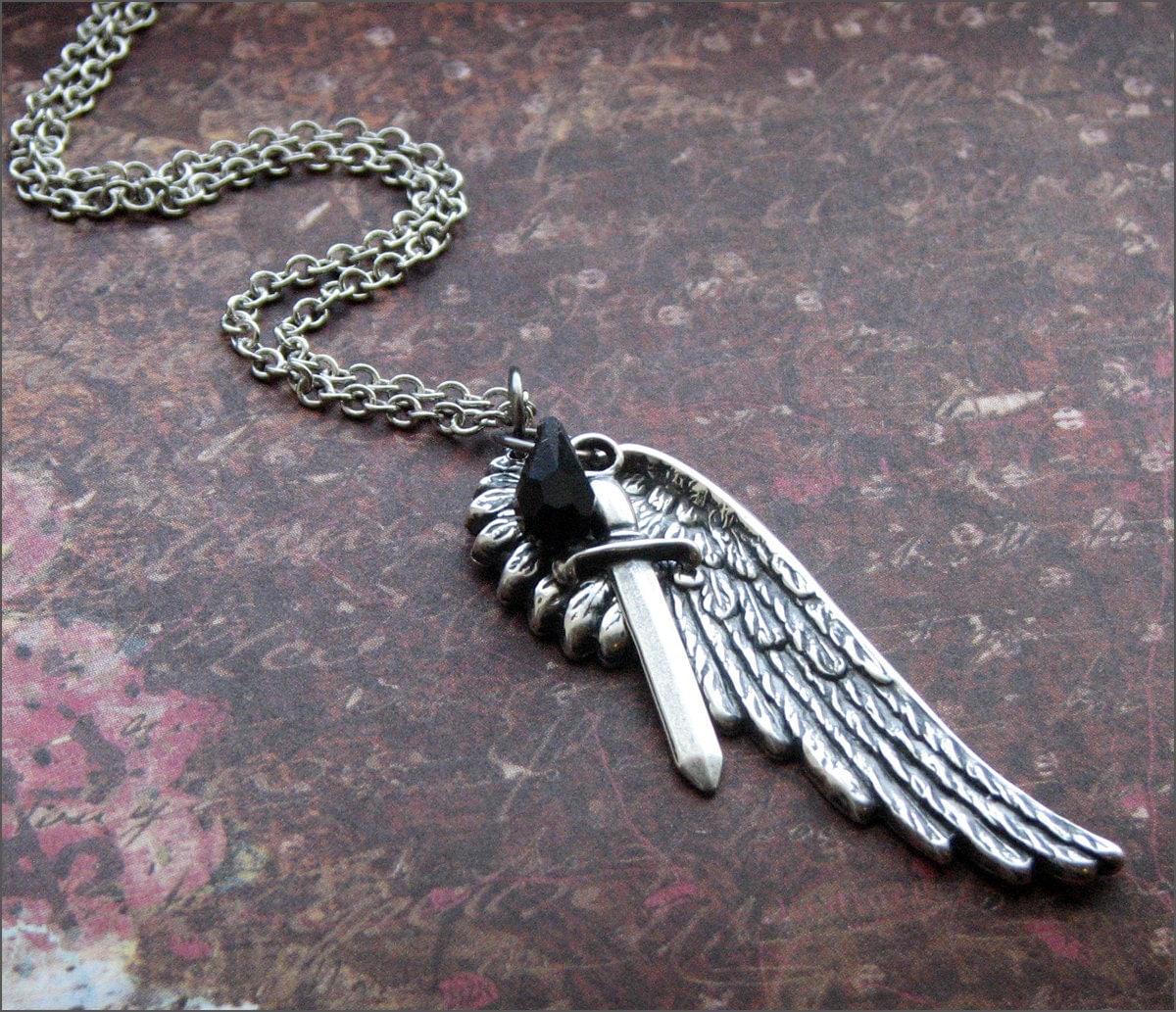 angel wing necklace beautiful detailed pendant dagger. Black Bedroom Furniture Sets. Home Design Ideas