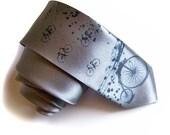 Retro bicycle tie. Print on narrow necktie