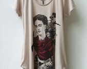 Frida Kahlo - Screen Printed Tank Top Tulip Dress with Side Pocket - NUDE