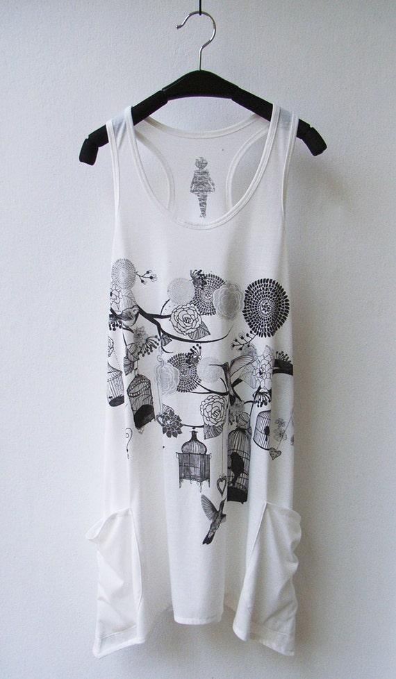 Bird, Cage & Blossom print Sleeveless Tank Top Mini Dress with Side Pocket - WHITE