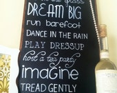 DREAMS FOR GIRLS Handpainted Chalkboard Sign for Nursery or Girls Room Decor