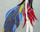 """13"""" Pale Faerie (Fairy) Free Form Stained Glass Window Decoration"""