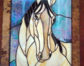 Quarter Horse Stained Glass Panel - Available as a custom order