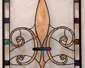 Stained Glass Fleur de Lis - Art Nouveau Panel