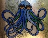 """Stained Glass """"Blue Kraken"""" Octopus Suncatcher available as a custom order"""