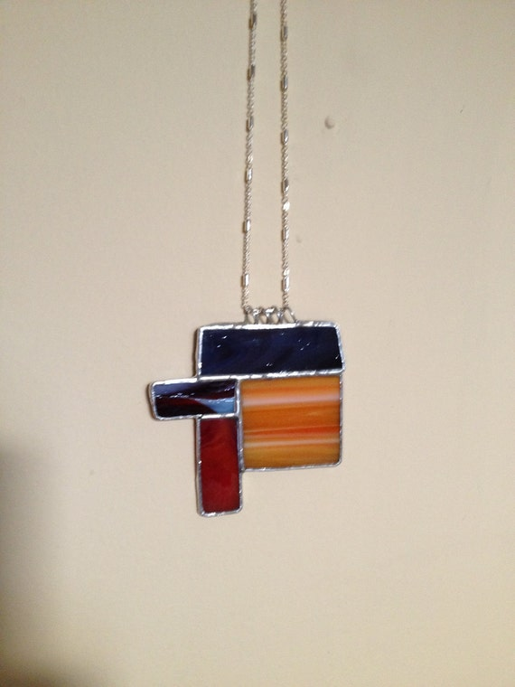 Stained Glass Necklace - Large Colorful and Unique Gift
