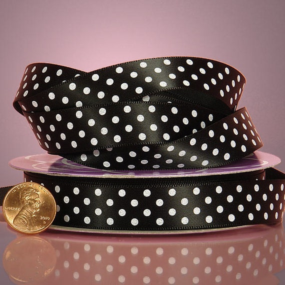"NEW 5/8"" White Polka Dot on Black Satin Ribbon 3yds"