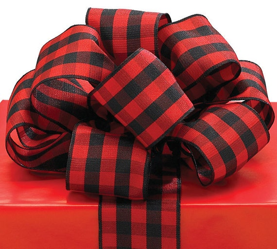 2 Yards 1-1/2 inch Black & Red Plaid Ribbon