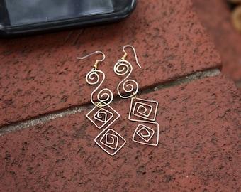 Handformed Wire Earrings, Silver Wire Earring, Wire Work Designs, Wirework Jewelry, Cool Earrings, Art Jewelry, Hipster Earrings, 925 Silver