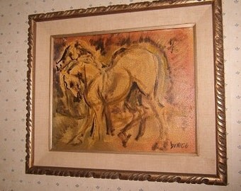 OLD Moderne 1950s Oil Painting - Horses - Signed - RETRO