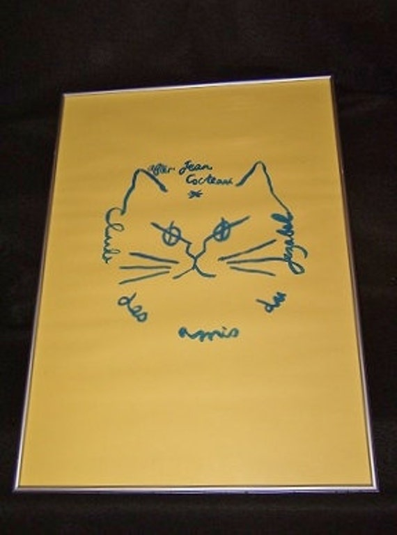 VINTAGE Cat Seriograph French Poster - After Jean Cocteau