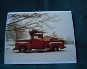 Old Truck Christmas Tree Card Set of 4 (Blank or with Verse), Christmas Cards, Holiday Cards, Christmas Truck Card, Christmas tree Card